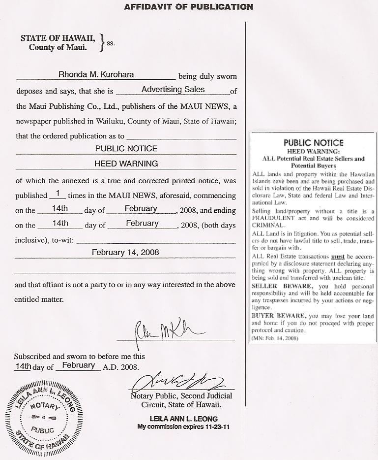 Affidavit of Publication - Kingdom of Hawaii Government