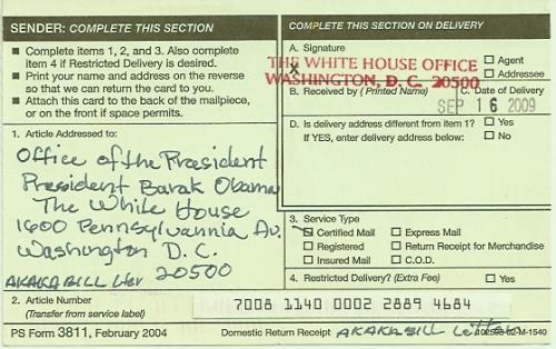 postal receipt Obama 9-16-09