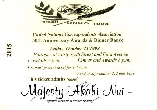 UN Dinner Ticket for Hawaii King, Majesty Akahi Nui