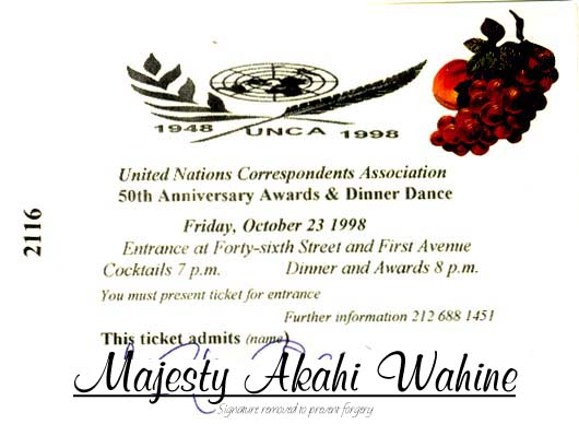 UN Dinner Ticket for Highness Wahine Akahi Nui