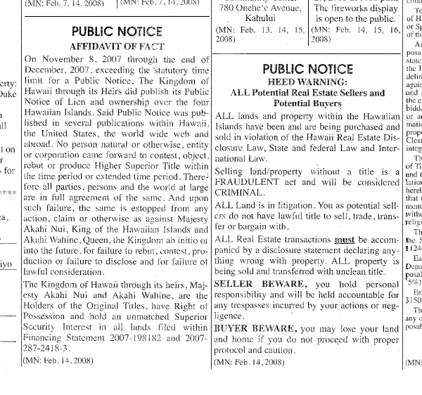 Public Notice - Kingdom of Hawaii - The Maui News - Feb 14 2008